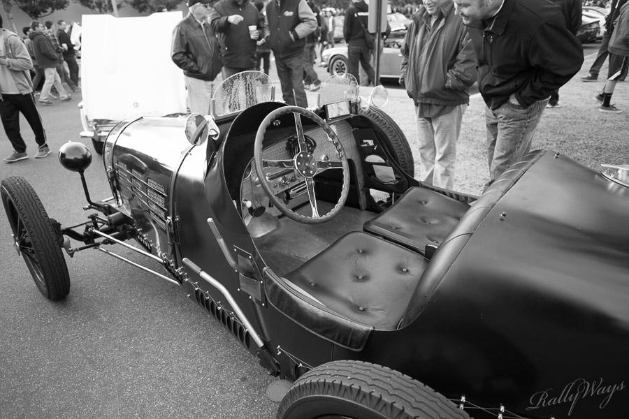 Cockpit in a Classic Bugatti Roadster