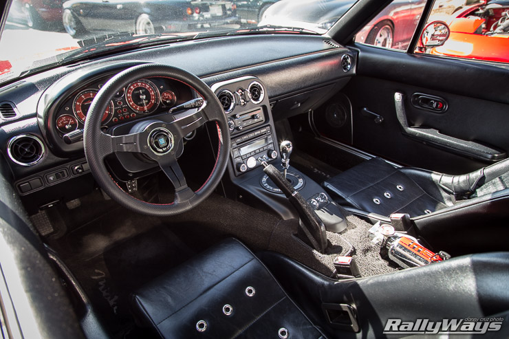 Miata Interior with Custom Gauges