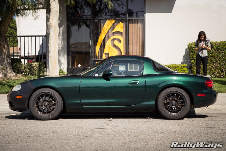 Green NB Miata on 949 Wheels