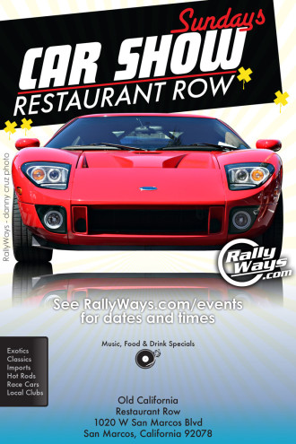 Car Show Sundays at Restaurant Row Main Flyer