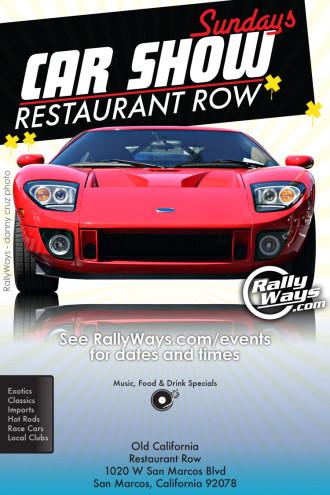 Car Show Sundays at Restaurant Row Main Flyer