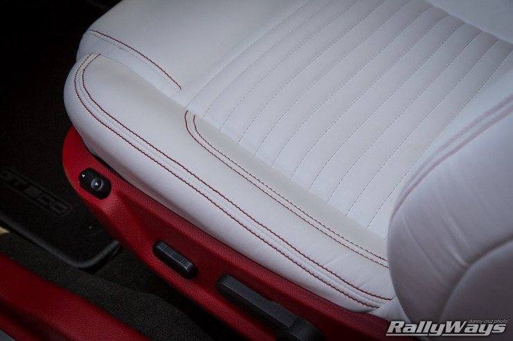 White Leather Seats with Red Stitching