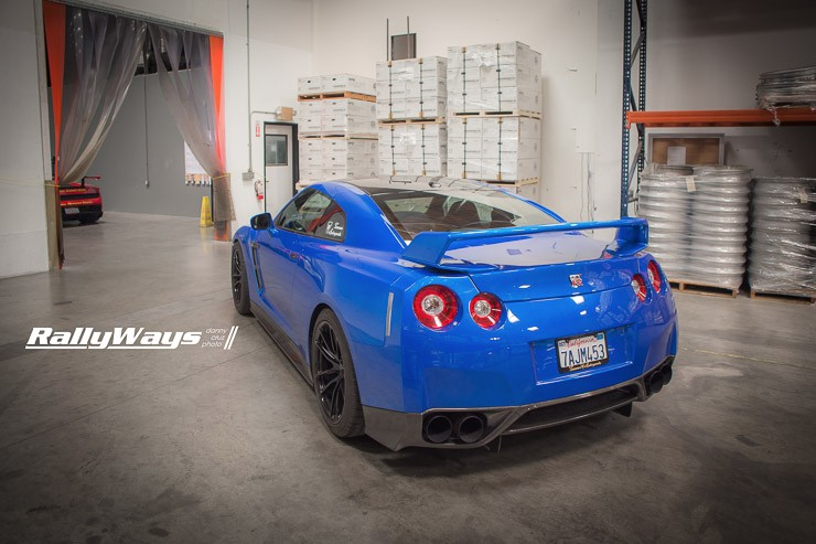 Bright Blue Nissan GT-R at HRE Wheels