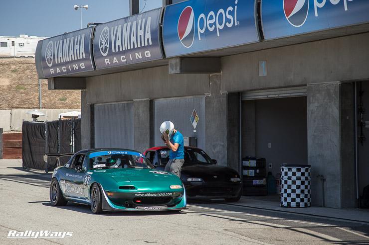 Chikara Motor Miata at MRLS 2014 - At the paddock garages