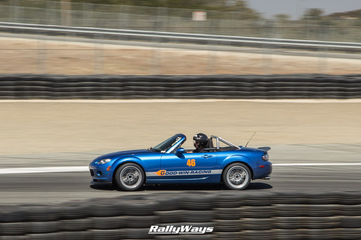 Goodwin Racing Winning Blue Miata at MRLS