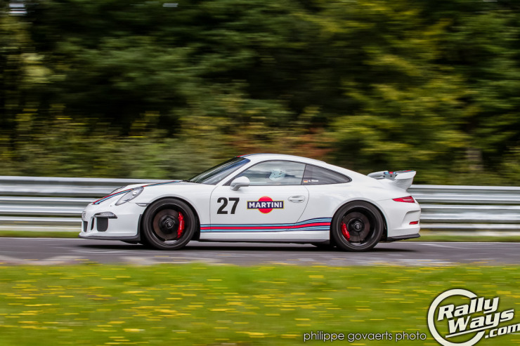 Martini Livery Porsche 991 GT3  lapping the Nürburgring