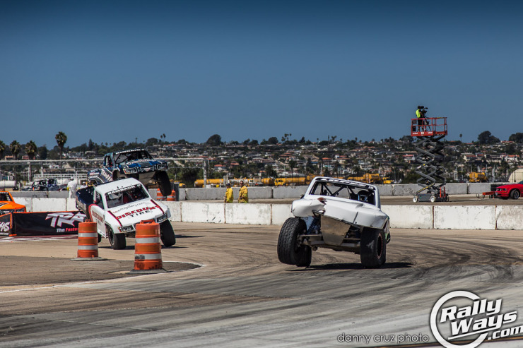 Coronado Speed Fest Super Trucks cornering after a jump.