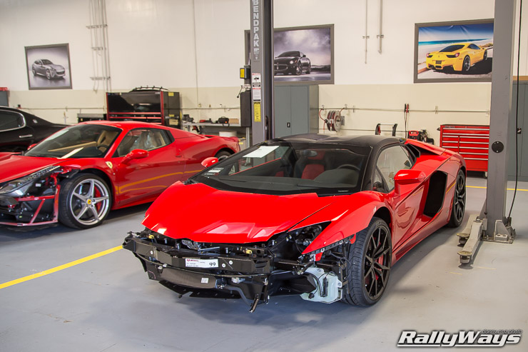 Lamborghini Aventador being repaired after a crash