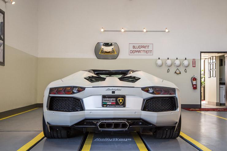 Matte White Lamborghini Aventador Rear View