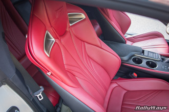 Close Up of the Red Leather Seats in a Lexus RC-F