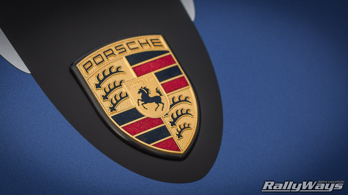 Stock Gold Red And Black Porsche Badge