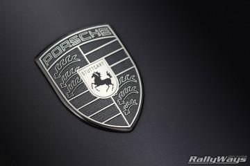 Monochromatic Porsche Emblem Close Up