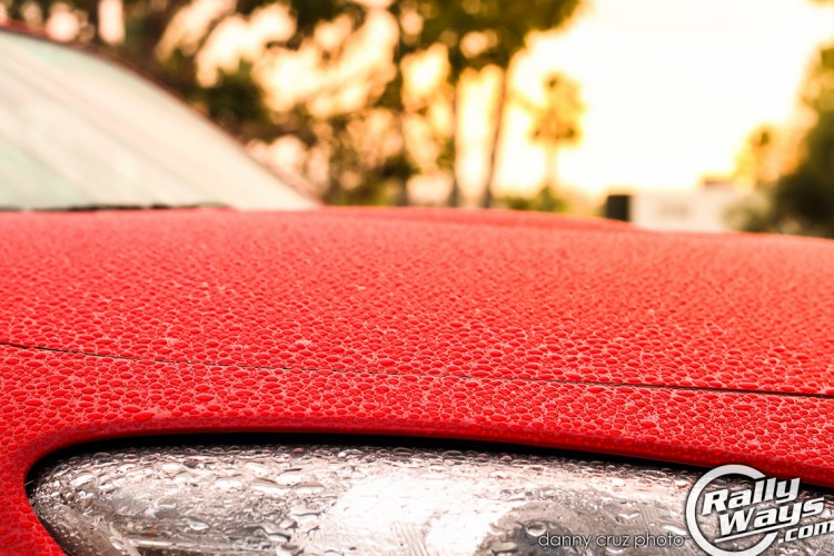 Water Beading on Red Paint