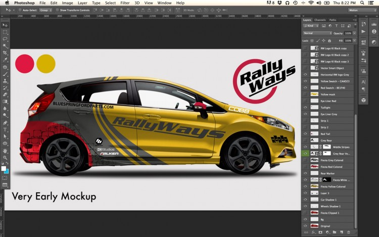 Early Design Mockup in Photoshop of the RallyWays Fiesta ST