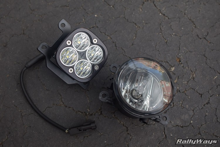 Fiesta ST Stock Fog Light vs Baja Designs Squadron Pro
