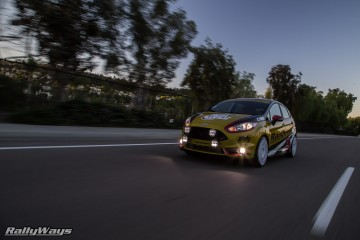 Ford Fiesta ST Rally Lights Rolling Shot at Dawn - Baja Designs Squadron Pro